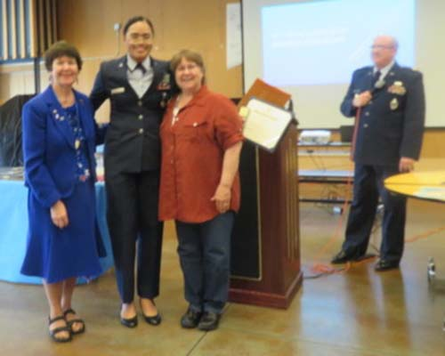 Giving an Award to a JR ROTC member from Todd Beamer High School, Federal Way WA